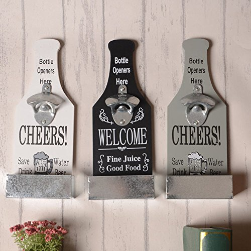 Creative American Country Wall Bottle Opener Vintage Retro Beer Shaped Wall Mounted Bottle Openers Cap Catcher Home Decor (white) 0