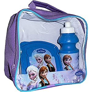 Girls Character Lunch Bag Kit Set with Water Bottle & Sandwich Box (Frozen lunch bag)