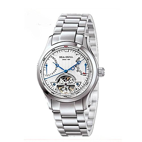 Seagull Automatic 316L Fully Stainless Steel Mens Watch M163S Skeleton Case Back Flywheel