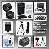 Canon EOS Rebel T1i (500D) Digital SLR Professional Accessory Bundle Kit, Includes Wide Angle Macro and 2x Telephoto Zoom Lenses, 3 Piece Filter Kit, Close Up Kit +1 +2 +4 +10 Lenses, 2 Brand New Canon Compatible Batteries + Wall & Car Charger, Wireless R