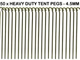 "50 x HEAVY DUTY 9"" TENT PEGS - 23CM x 4.5MM - MADE FROM GALVANISED STEEL - CURVED HOOK ON TOP - GREAT FOR SECURING TENTS / AWNINGS / GOAL NETS / POND NETTING"