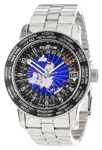 Fortis Men's 674.21.11 M B-47 Worldtimer GMT Swiss Automatic Bidirectional Bezel Stainless Steel Bracelet GMT Date Watch