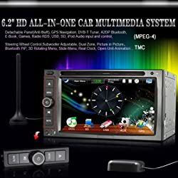 See 6.2 Inch 2Din Universal Detachable Car DVD Player (GPS, Touch Screen, TMC, DVB-T MPEG-4, DVD, Radio, Bluetooth, iPod, RDS, PIP, 3D Rotating Menu, Steering Wheel Control) Details
