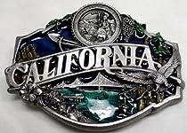 California State 3-D Enamel Pewter Belt Buckle