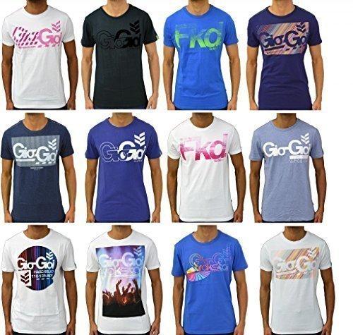 Gio Goi Herren T-Shirt Designer Fashion Freizeit Bedruckt Baumwolle Rundhalsausschnitt Jersey Top - S, Tnylon Weiß
