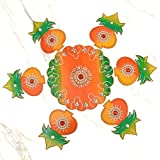 999Store Handmade Multicolour Wooden Rangoli Diwali Decorative Item, Home Décor Kalash Orange Green