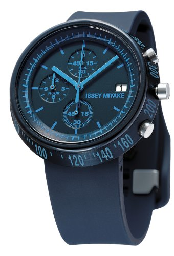 Issey Miyake Trapazoid Unisex Quartz Watch with Blue Dial Chronograph Display and Blue PU Strap SILAZ006
