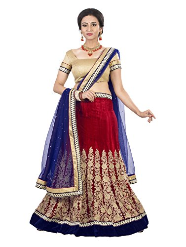 7 Colors Lifestyle Women's Polyester Lehenga Choli (AEELH9044SUM2_Red_Free Size)