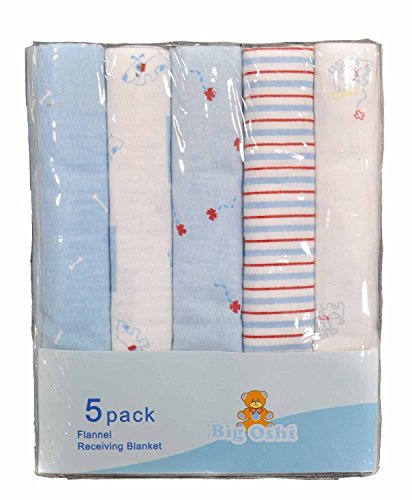 Big Oshi Flannel Swaddling Baby Receiving Blankets, 100% Soft Cotton - 5 Pack - Blue - 1