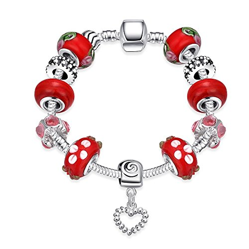 Gorgeous Jewelry Classical Red Beaded Diamond Accented Crystal Character Heart Pendant Silver Bracelet (Barbie Cupcake Liners compare prices)