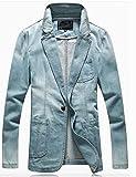 (ノームコア センス)Normcore sense メンズ デニム テーラード ジャケット 綿 ブルゾン ライトブルーXXL