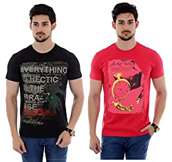 French Twins 2 pcs of Cotton Casual Half Sleeves T-shirt with Graphic Print- Red/Black