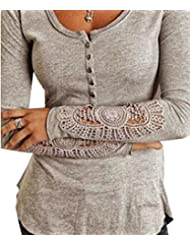Women Crew Neck Hollow Long Sleeve Slim Fit Crochet T Shirt Blouse