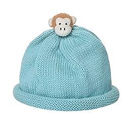 Soft Cotton Aqua with Monkey Babynie Hat Small