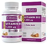 Vitamina B12 in compresse, da G-Biotics ~ Capsule ad alta efficacia da 1000 mcg con acido folico ~ Integratore di ALTISSIMA QUALITÀ