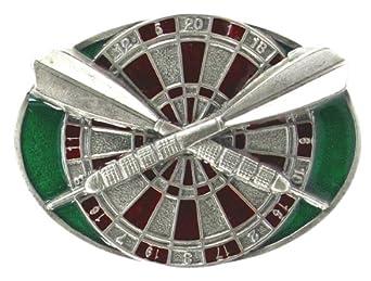 Pewter Belt Buckle - Darts and Board - Pewter Belt Buckle