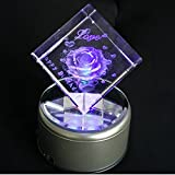 3D Laser Crystal Rose Cube Valentine's Day Gift Birthday Gift With Rotating Mirror Crystal Light Base