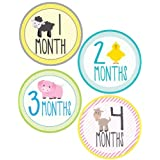 Lollipop Labels Farm Animal Monthly Onesie - Waterproof And Durable - Includes 1-12 Month Stickers