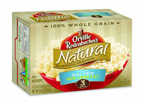 Orville Redenbacher's Gourmet Microwavable Popcorn, Natural Simply Salted 50% Less Fat, 3-Count Boxes (Pack of 12)