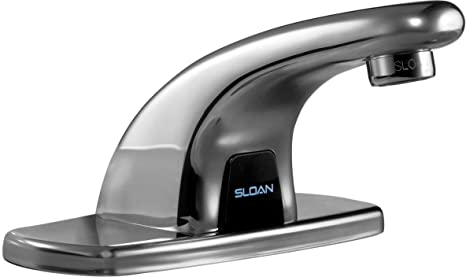 Sloan EBF-615-4-BDM Bathroom Faucet, Optima Plus Battery Powered, Pedestal Automatic w/ Trim Plate & Mechanical Mixing Valve - Chrome