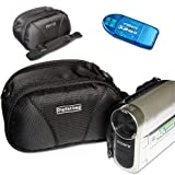 First2savvv black quality camcorder case for panasonic HC-V550CT with card reader