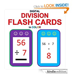 Digital Division Flash Cards in Color (1-9 Shuffled Twice)