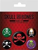 Skulls Badge Pack - And Bones, 1 X 38mm & 4 X 25mm Badges (6 x 4 inches)