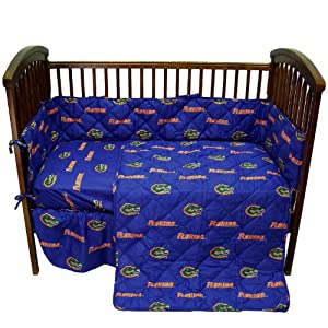 Florida Gators 5 Piece Crib Set and Matching Window Curtain Valance - Entire Set includes: (1) Reversible Comforter, (1) Bed Skirt , (2) Fitted Sheets, (1) Bumper Pad and (1) Matching Window Curtain Valance - Decorate Your Nursery and Save Big By Bundling!