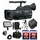 Panasonic AG-HMC40 Professional 3MOS AVCCAM Handheld Camcorder + Battery + Two 32GB Cards + 0.45X Wide Angle Lens + 2x Telephoto Lens + Case + Tripod + Led Light + Travel charger + Filter Kit