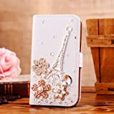 Locaa(TM) SONY Xperia SP M35H C5303 3D Bling Case Deluxe Luxury Crystal Pearl Diamond Rhinestone eye-catching Beautiful Leather Retro Support bumper Cover Card Holder Wallet Cases - [General series] Eiffel Tower flower
