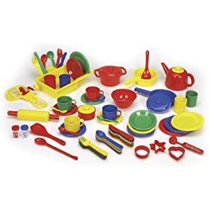 Childcraft deluxe kitchen play set 71 pieces for Child craft play kitchen