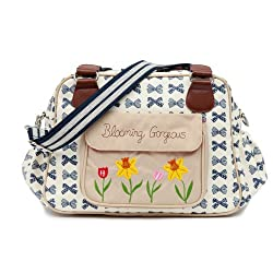 Pink Lining Blooming Gorgeous Diaper Bag - Navy Bows