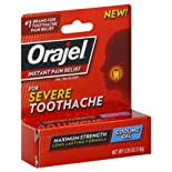 Orajel Oral Pain Reliever, for Severe Toothache, Maximum Strength, Cooling Gel .25 oz.