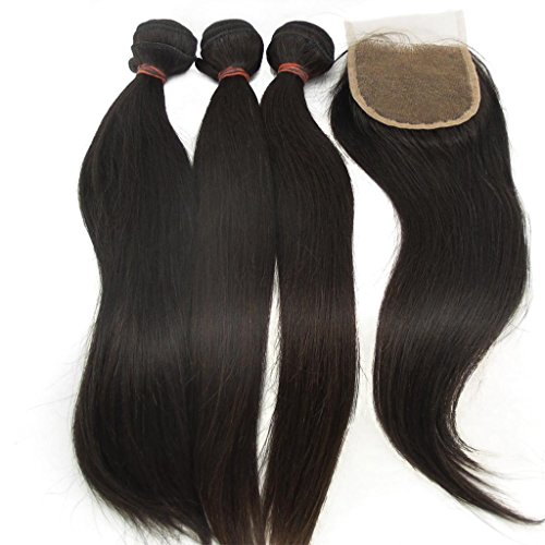 "Vedar Beauty 3 Bundles + 1 Closure Tangle Free Natural Color Virgin Malaysian Straight Hair 3Pcs 24"" 26"" 28"" And 1 Piece Remy Hair Closure(4*4)20"""