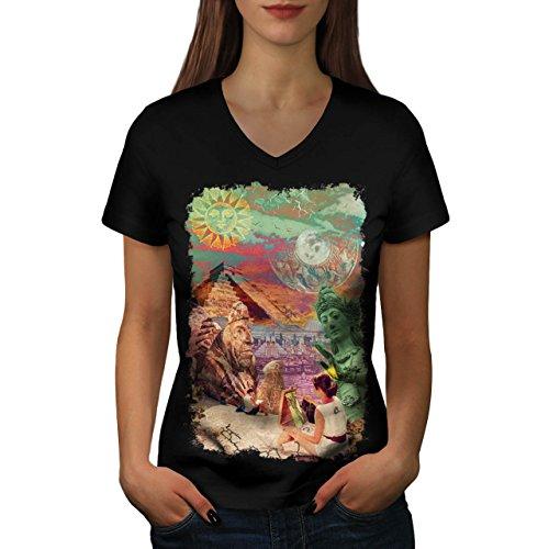 wonders-of-world-artist-maker-women-new-black-m-v-neck-t-shirt-wellcoda