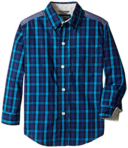 Nautica Little Boys' Yarn Dye Woven Plaid Shirt with Jersey Trim, Teal, Small