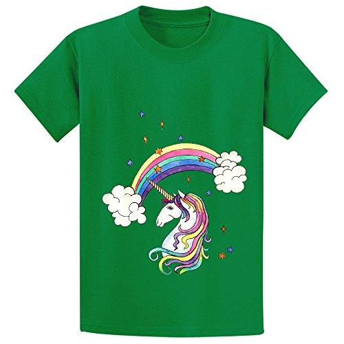 Snowl Rainbow Unicorn Cool Kid's Crew Neck Customized Shirts Green