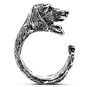 Silver Phantom Jewelry Womens Silver Tone Dachshund Dog Ring, Adjustable Size 6 7 8