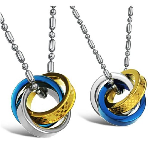 Opk Jewellery Neckwear Stainless Steel Necklace 3 Rings Links Pendants Blue And Gold Plated For Men And Ladies