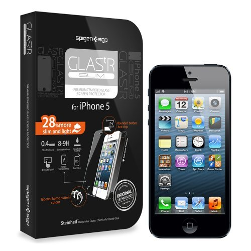 国内正規品SPIGEN SGP iPhone5 シュタインハイル GLAS.t R スリム リアル スクリーン プロテクター(背面保護フィルム同梱)SGP10111