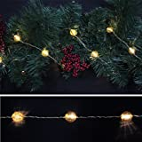 Starlite Creations Battery Operated LED Metallic Jewel Garland - 9 ft - 27 LEDs - White Lights