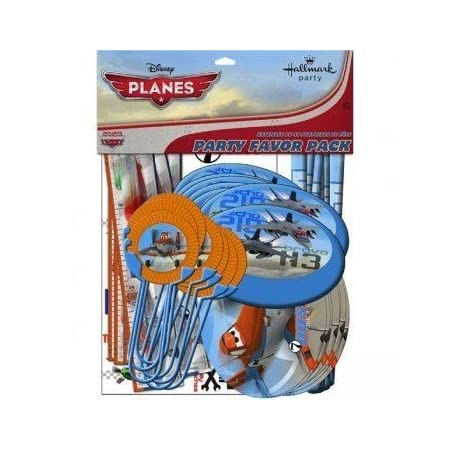 The Disney Planes Favor Set includes: Temporary Tattoos (8), Stickers (8), Bookmark Rulers (8), Disc Shooters (8), Activity Sheets (8) and Flying Discs (8)