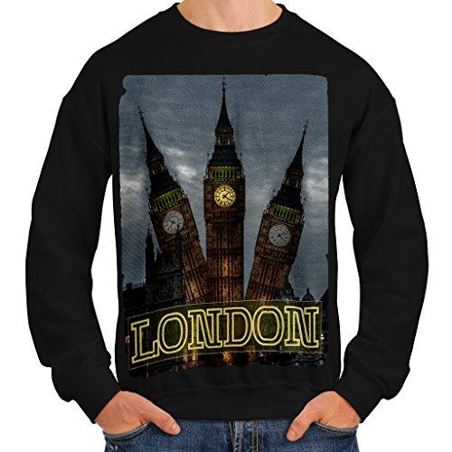 Londra Grande Ben vista Orologio Uomo Nuovo Nero Felpa L | Wellcoda