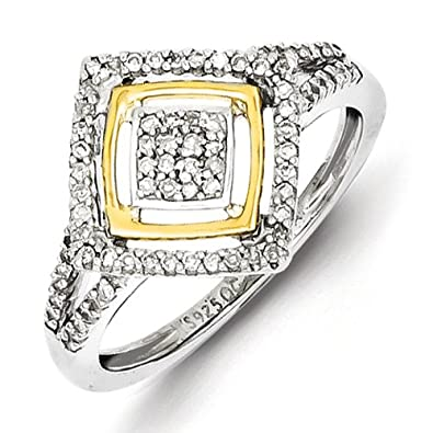 Sterling Silver and 14ct Two Tone Ring - Ring Size Options Range: L to P