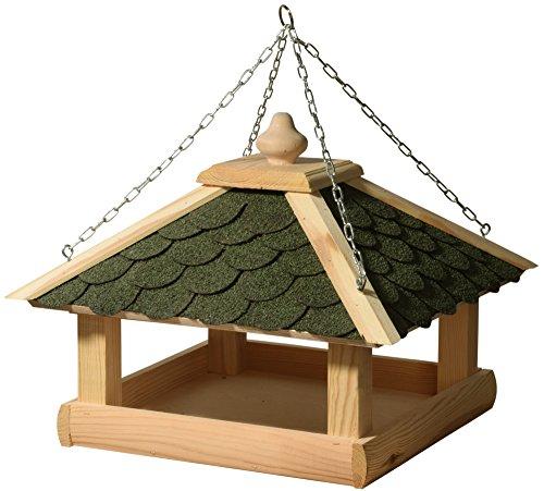 dobar-44256e-Klassisches-Vogelhaus-aus-Holz-Kiefer-fr-Garten-Balkon-mit-grnen-Bitumenschindeln-stabiler-Metallkette-zum-Aufhngen-Vogelhuschen-Vogel-Futterhaus