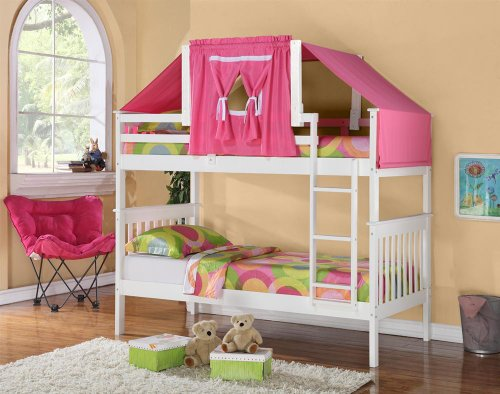 Twin Over Twin Mission Bunk Bed with Tent Kit in White and Pink & Twin Over Twin Mission Bunk Bed with Tent Kit in White and Pink ...
