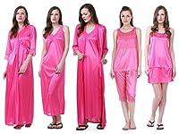 Claura Women's Satin Pack of 6pc Night Dress (Pink)
