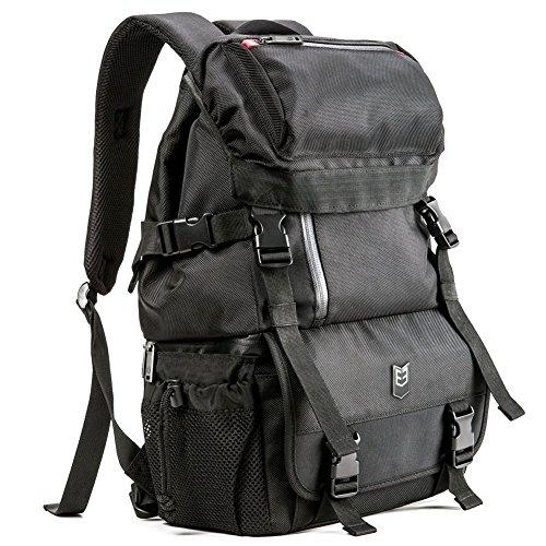 Evecase DSLR/SLR Digital Camera / Lens Kit Travel Rugged Backpack - Black (Water Resistant) (Canon 60d Battery Pack compare prices)