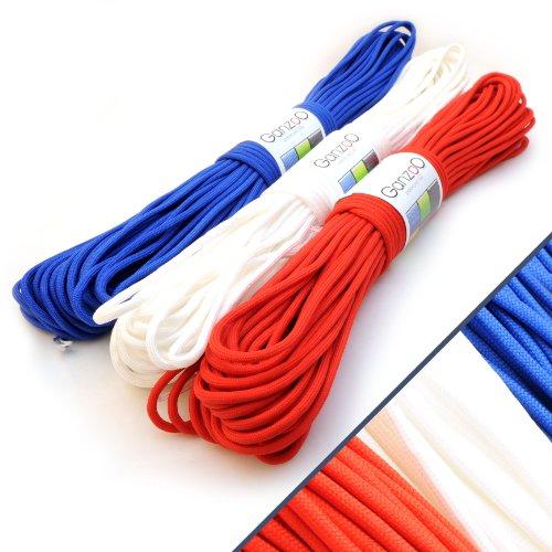 Lot-de-3-Ganzoo-Corde-de-Parachute-indchirable-paracorde-550-Manteau-noyau-en-corde-en-nylon-550lbs-longueur-totale-90-m-300-ft-couleur-France-Bleu-Blanc-Rouge-Ganzoo