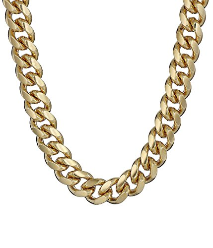 [Absolutely Perfect Mens Fashion Curb Cuban Stainless Steel Necklace Gold 24] (Homemade Punk Rock Costumes)